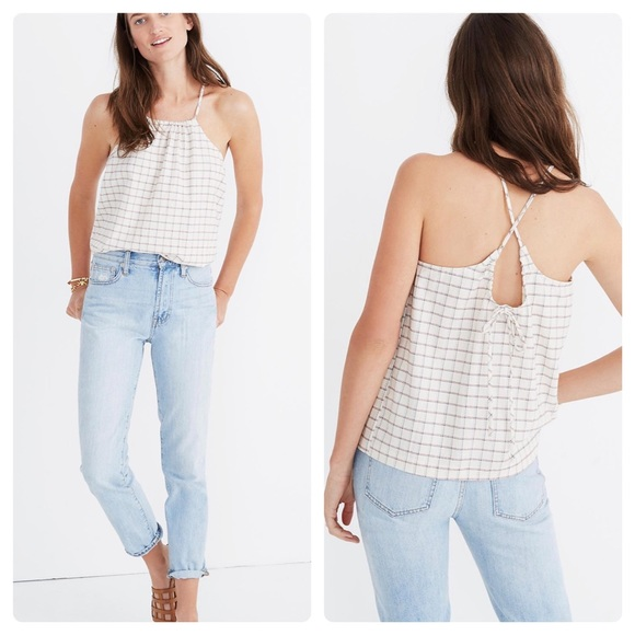 Madewell plaid halter top NWT